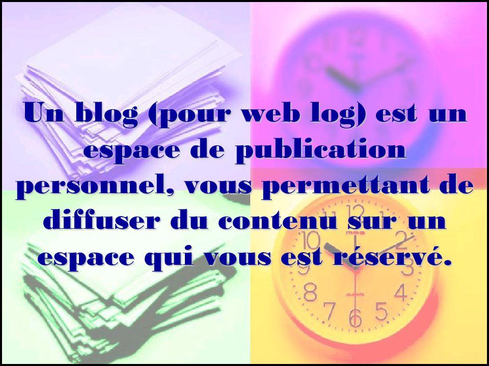 Un blog (pour web log) est un espace de publication personnel, vous permettant de diffuser du contenu sur un espace qui vous est réservé.