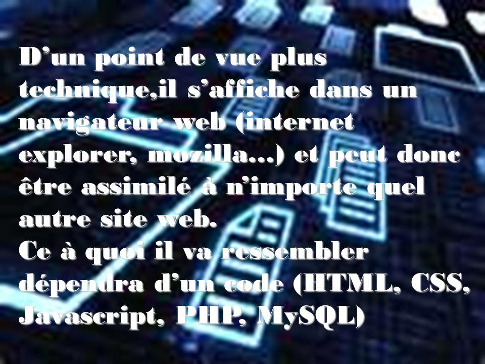 Dun point de vue plus technique,il saffiche dans un navigateur web (internet explorer, mozilla…) et peut donc être assimilé à nimporte quel autre site