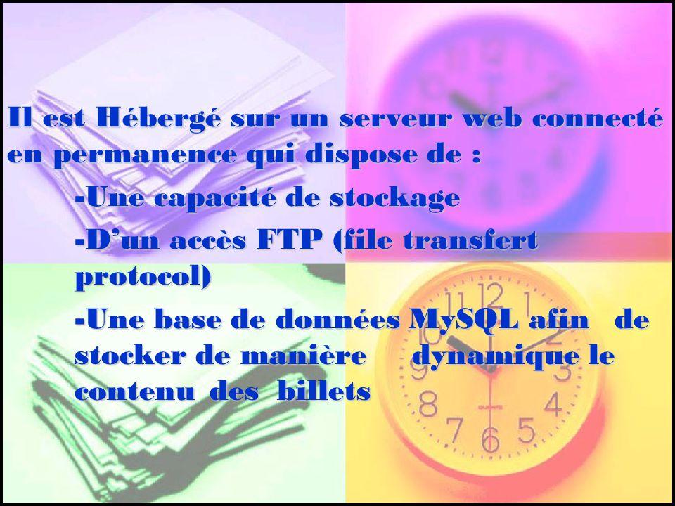 Il est Hébergé sur un serveur web connecté en permanence qui dispose de : -Une capacité de stockage -Dun accès FTP (file transfert protocol) -Une base