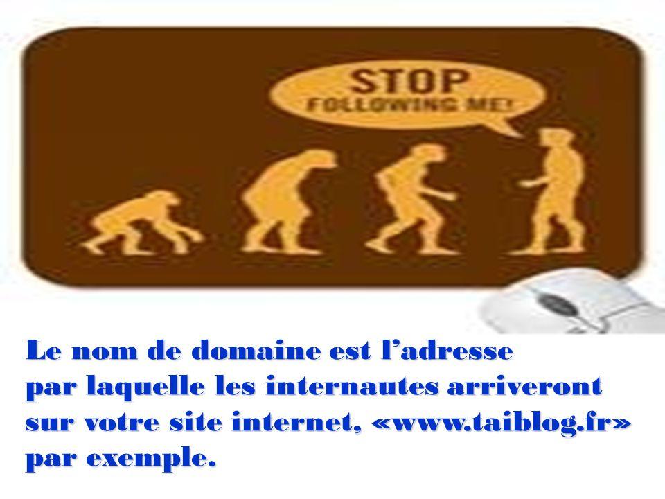 Le nom de domaine est ladresse par laquelle les internautes arriveront sur votre site internet, «www.taiblog.fr» par exemple.