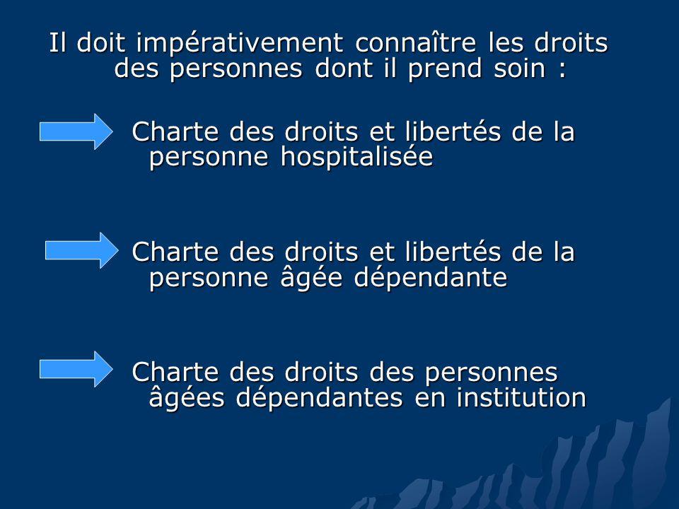 Il doit impérativement connaître les droits des personnes dont il prend soin : Charte des droits et libertés de la personne hospitalisée Charte des droits et libertés de la personne âgée dépendante Charte des droits des personnes âgées dépendantes en institution