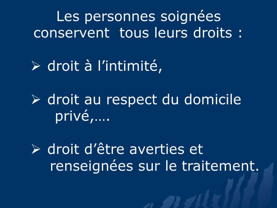 Les personnes soignées conservent tous leurs droits : droit à lintimité, droit au respect du domicile privé,….