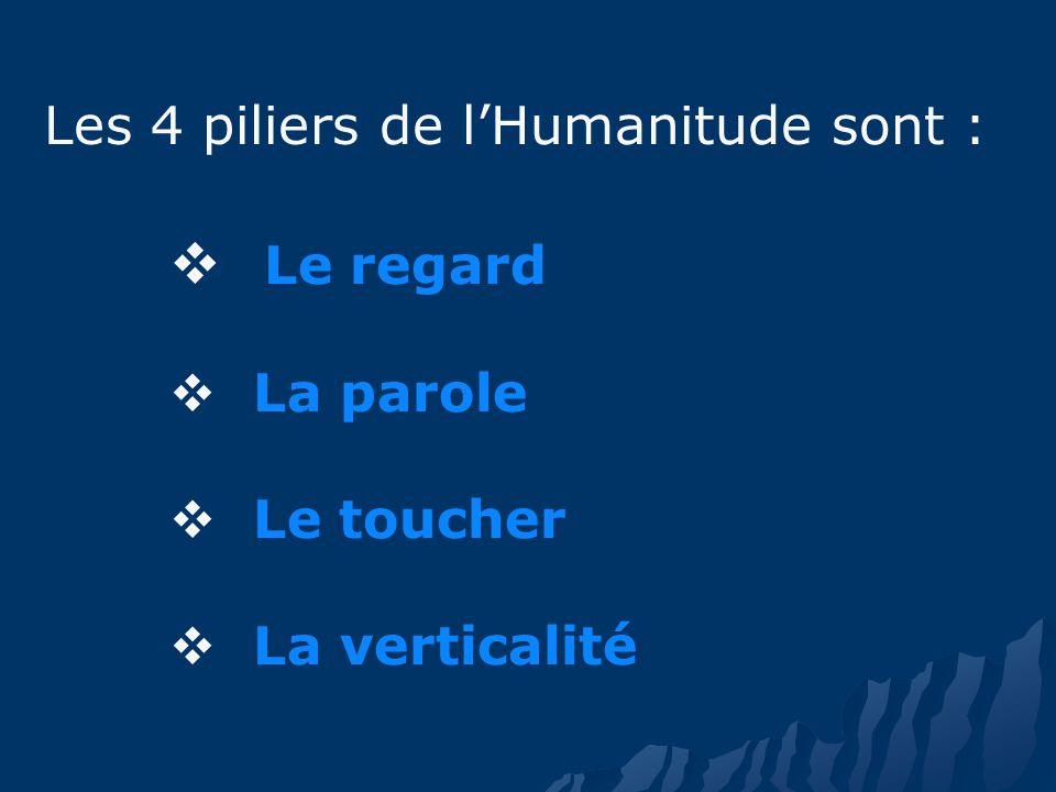 Les 4 piliers de lHumanitude sont : Le regard La parole Le toucher La verticalité