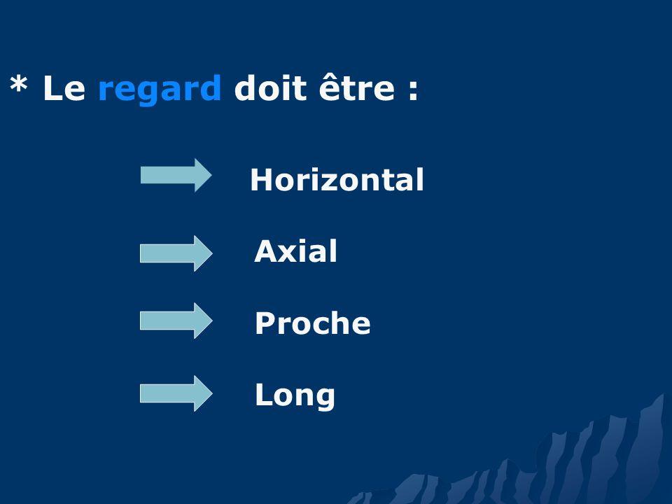 * Le regard doit être : Horizontal Axial Proche Long