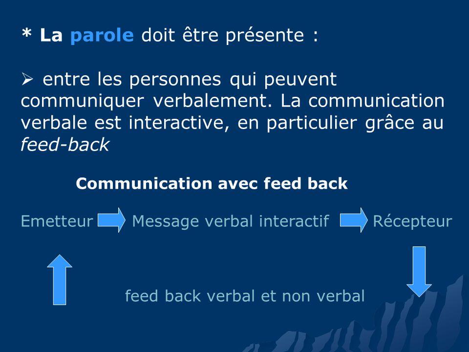 * La parole doit être présente : entre les personnes qui peuvent communiquer verbalement.