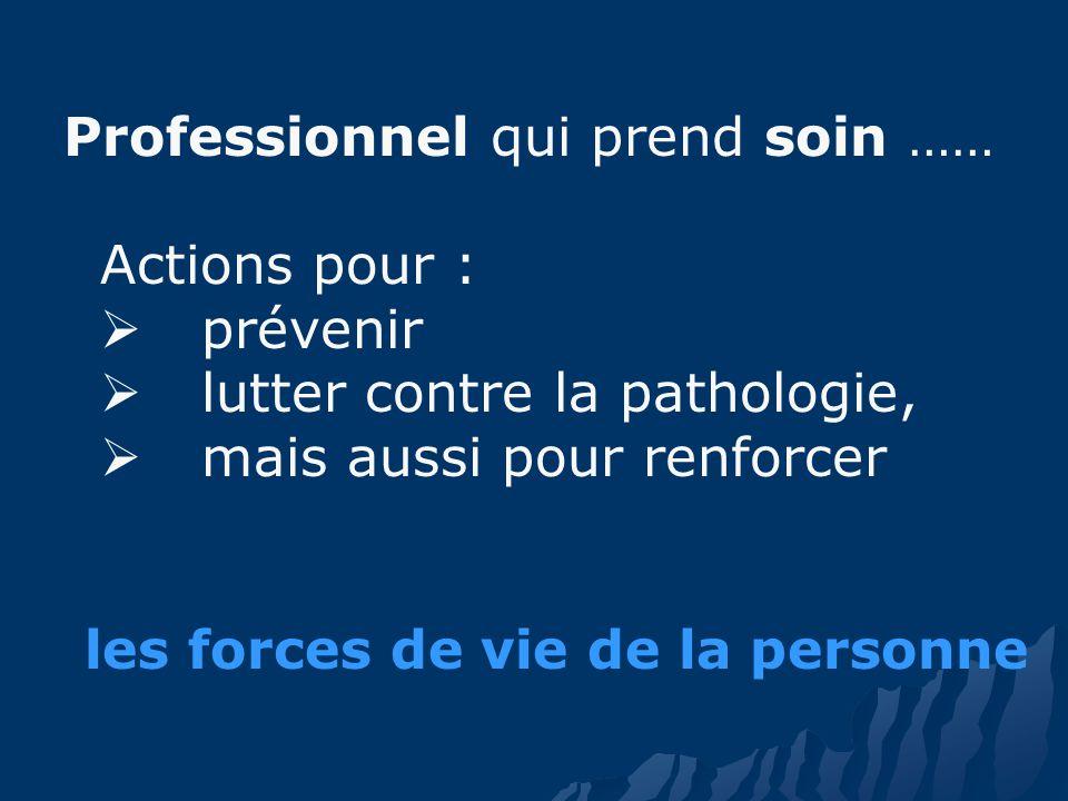 Professionnel qui prend soin …… Actions pour : prévenir lutter contre la pathologie, mais aussi pour renforcer les forces de vie de la personne