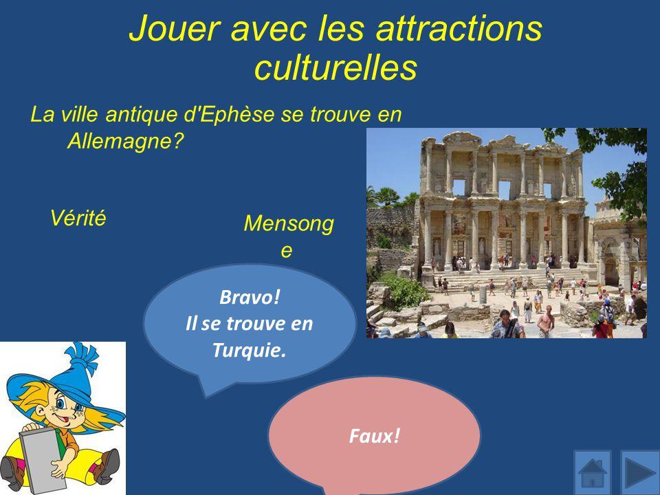 Jouer avec les attractions culturelles La ville antique d Ephèse se trouve en Allemagne.
