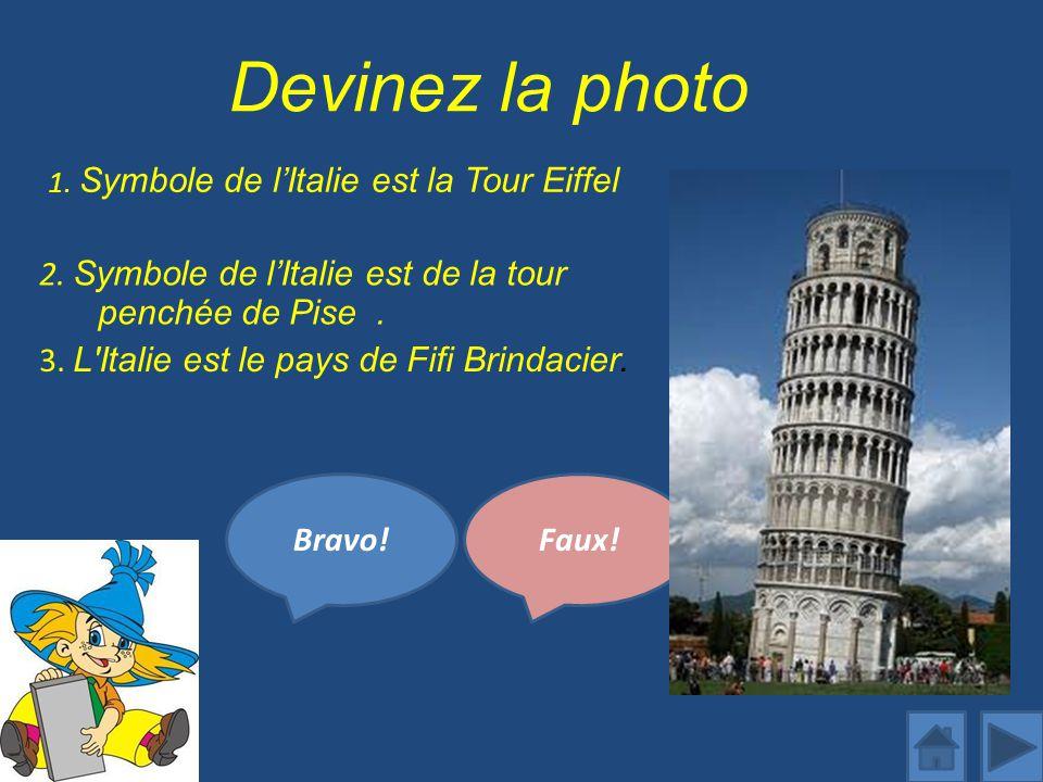 Devinez la photo 1.Symbole de lItalie est la Tour Eiffel Bravo!Faux.