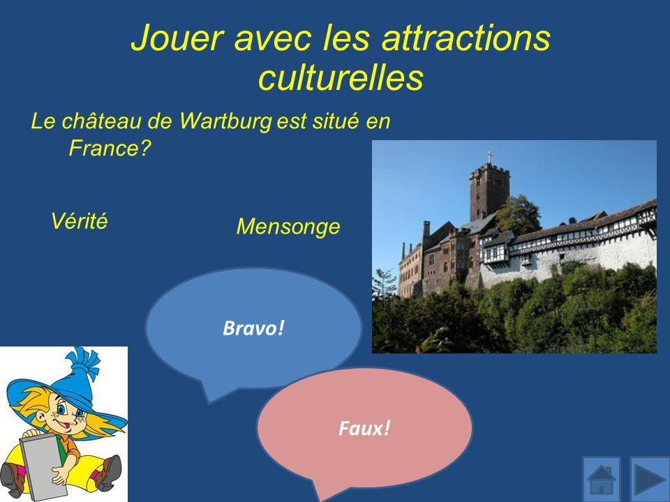 Jouer avec les attractions culturelles Le château de Wartburg est situé en France.
