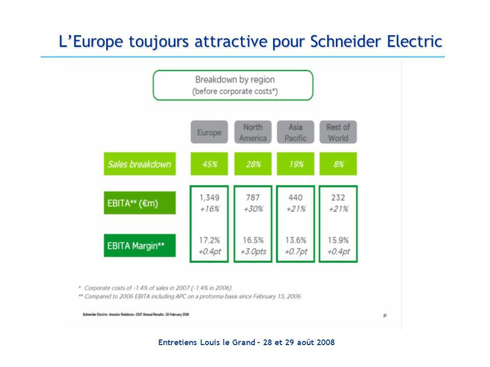 Entretiens Louis le Grand – 28 et 29 août 2008 LEurope toujours attractive pour Schneider Electric