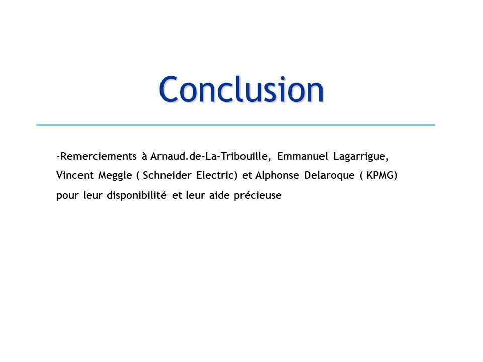 Conclusion -Remerciements à Arnaud.de-La-Tribouille, Emmanuel Lagarrigue, Vincent Meggle ( Schneider Electric) et Alphonse Delaroque ( KPMG) pour leur