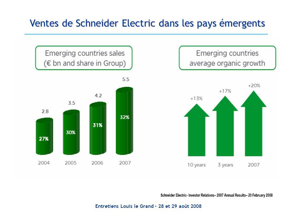 Entretiens Louis le Grand – 28 et 29 août 2008 Ventes de Schneider Electric dans les pays émergents