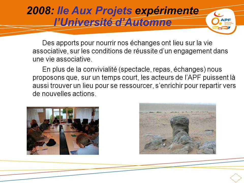 2008: Ile Aux Projets expérimente lUniversité dAutomne Des apports pour nourrir nos échanges ont lieu sur la vie associative, sur les conditions de réussite dun engagement dans une vie associative.
