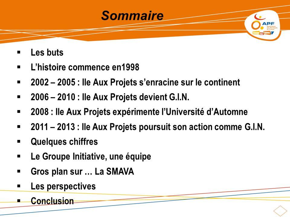 Sommaire Les buts Lhistoire commence en1998 2002 – 2005 : Ile Aux Projets senracine sur le continent 2006 – 2010 : Ile Aux Projets devient G.I.N.