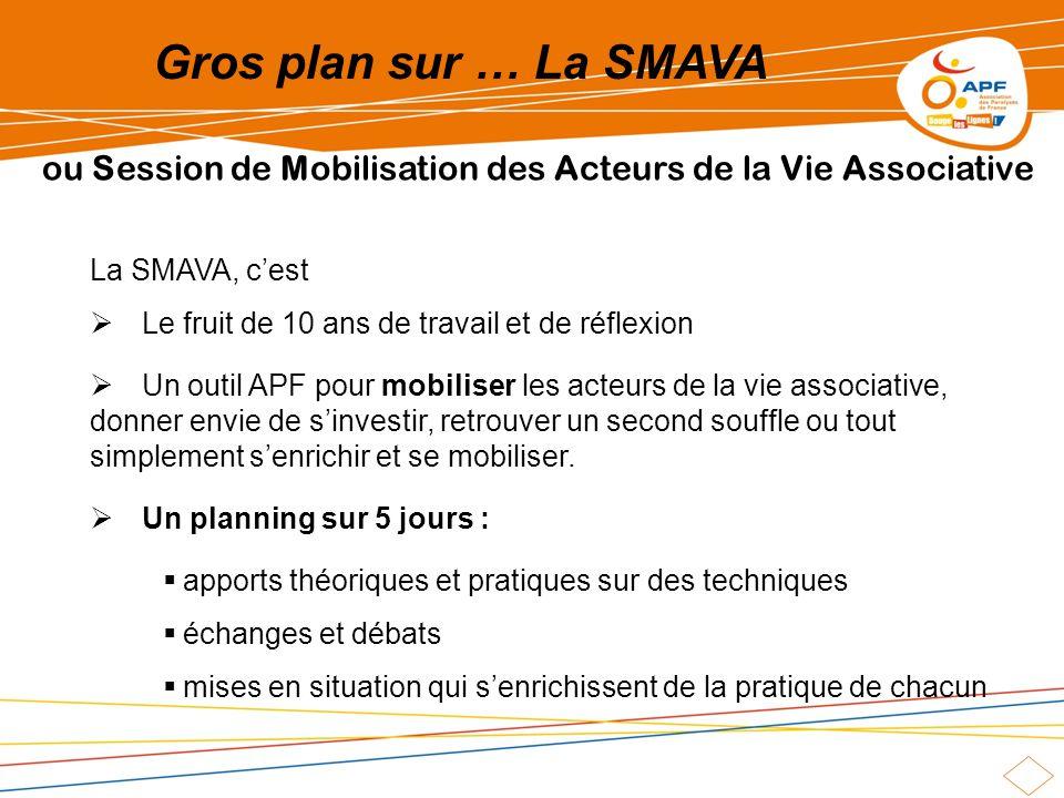 Gros plan sur … La SMAVA ou Session de Mobilisation des Acteurs de la Vie Associative La SMAVA, cest Le fruit de 10 ans de travail et de réflexion Un
