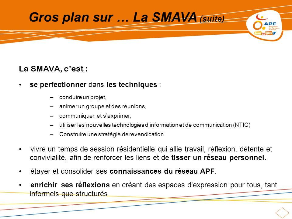 Gros plan sur … La SMAVA (suite) La SMAVA, cest : se perfectionner dans les techniques : –conduire un projet, –animer un groupe et des réunions, –comm