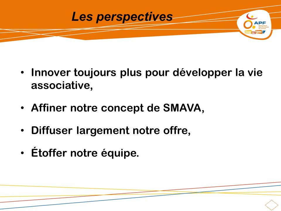 Les perspectives Innover toujours plus pour développer la vie associative, Affiner notre concept de SMAVA, Diffuser largement notre offre, Étoffer notre équipe.