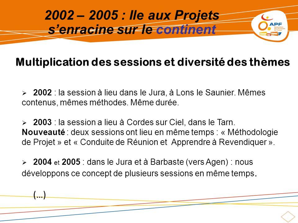2002 – 2005 : Ile aux Projets senracine sur le continent 2002 : la session à lieu dans le Jura, à Lons le Saunier. Mêmes contenus, mêmes méthodes. Mêm