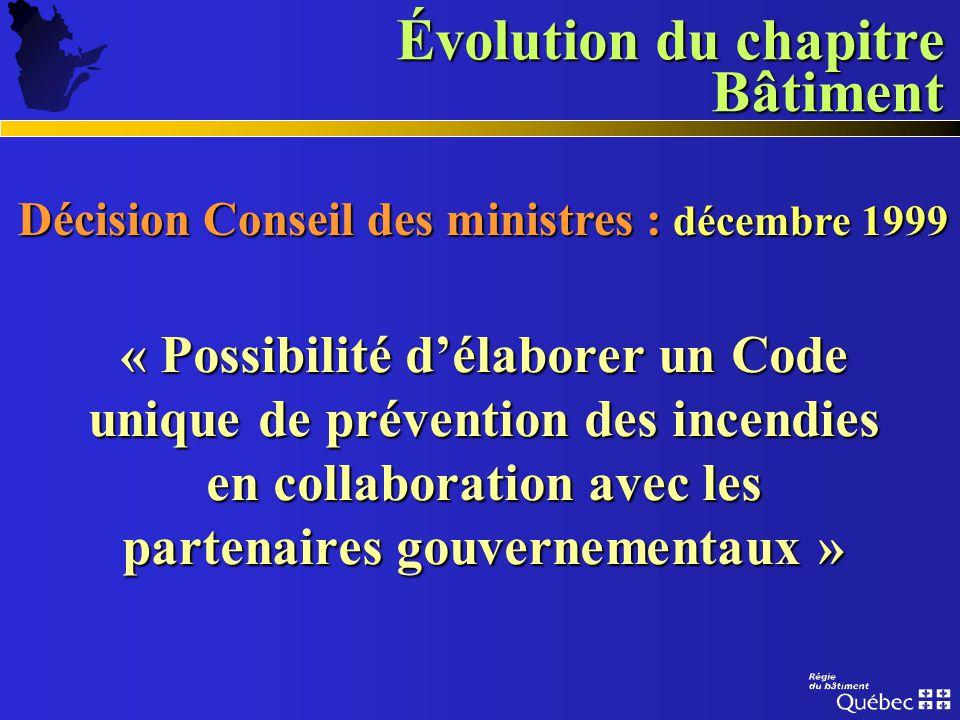 Évolution du chapitre Bâtiment Diversité des juridictions Diversité des juridictions Réglementations multiples Réglementations multiples Absence dunif