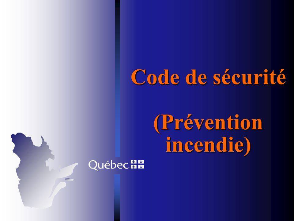 Évolution du chapitre Bâtiment Deux consensus Le Code national de prévention des incendies - édition 1995 constitue le document de référence de base p