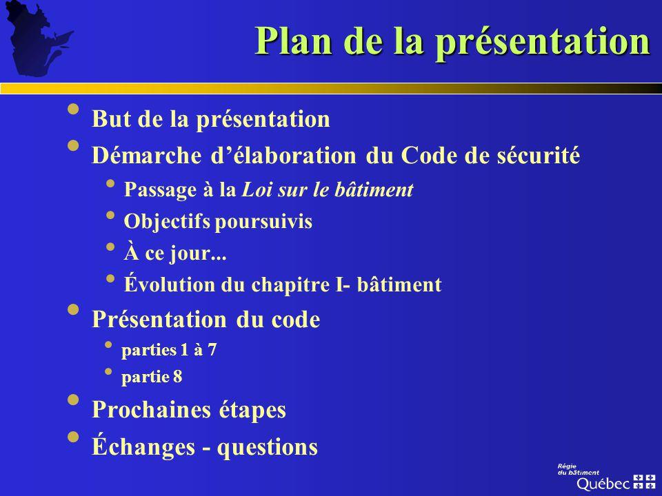 Le Code de sécurité du Québec (Prévention des incendies) Novembre 2003