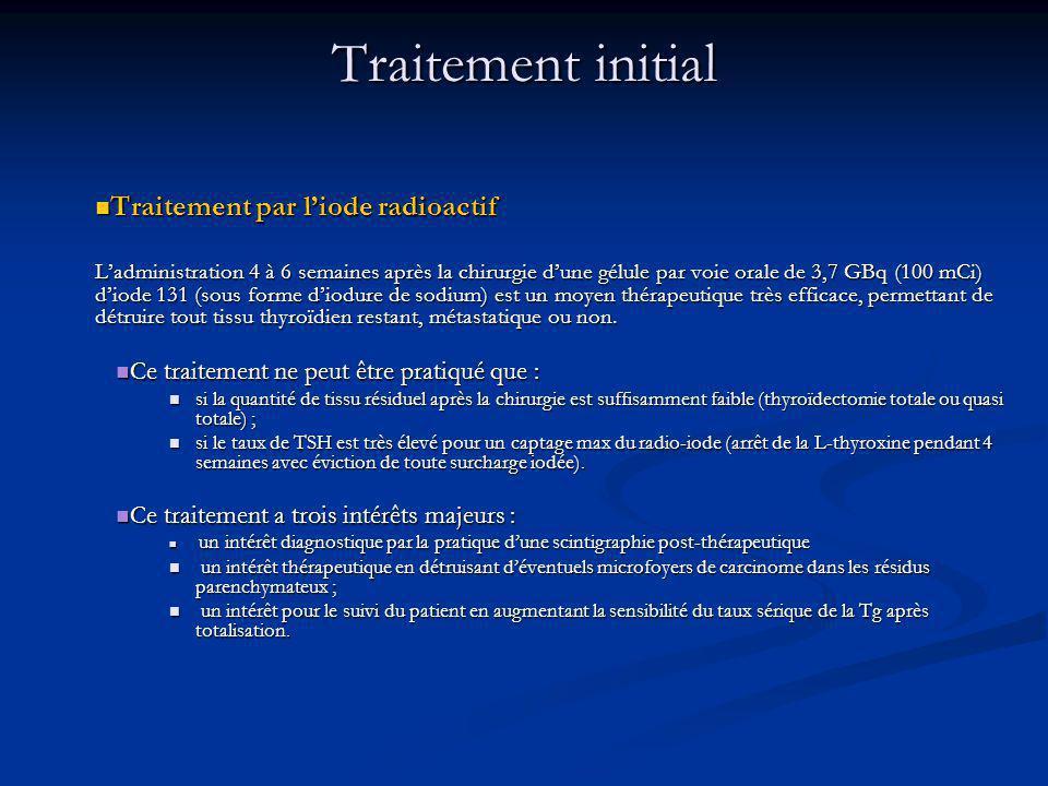 Traitement par liode radioactif Traitement par liode radioactif Ladministration 4 à 6 semaines après la chirurgie dune gélule par voie orale de 3,7 GBq (100 mCi) diode 131 (sous forme diodure de sodium) est un moyen thérapeutique très efficace, permettant de détruire tout tissu thyroïdien restant, métastatique ou non.