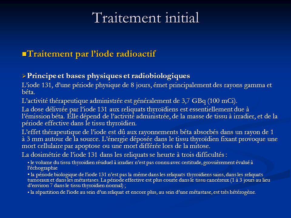 Traitement par liode radioactif Traitement par liode radioactif Principe et bases physiques et radiobiologiques Principe et bases physiques et radiobiologiques Liode 131, dune période physique de 8 jours, émet principalement des rayons gamma et béta.