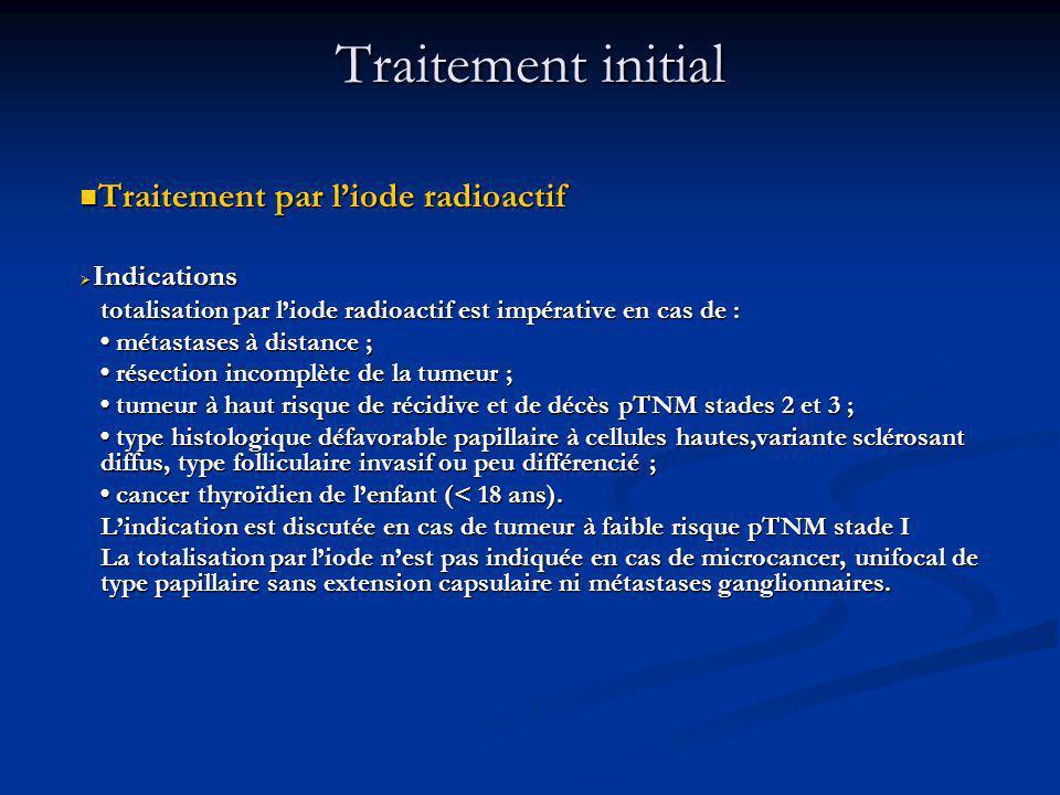 Traitement par liode radioactif Traitement par liode radioactif Indications Indications totalisation par liode radioactif est impérative en cas de : métastases à distance ; métastases à distance ; résection incomplète de la tumeur ; résection incomplète de la tumeur ; tumeur à haut risque de récidive et de décès pTNM stades 2 et 3 ; tumeur à haut risque de récidive et de décès pTNM stades 2 et 3 ; type histologique défavorable papillaire à cellules hautes,variante sclérosant diffus, type folliculaire invasif ou peu différencié ; type histologique défavorable papillaire à cellules hautes,variante sclérosant diffus, type folliculaire invasif ou peu différencié ; cancer thyroïdien de lenfant (< 18 ans).
