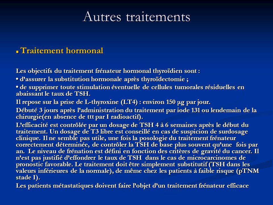 Traitement hormonal Traitement hormonal Les objectifs du traitement frénateur hormonal thyroïdien sont : dassurer la substitution hormonale après thyroïdectomie ; dassurer la substitution hormonale après thyroïdectomie ; de supprimer toute stimulation éventuelle de cellules tumorales résiduelles en abaissant le taux de TSH.