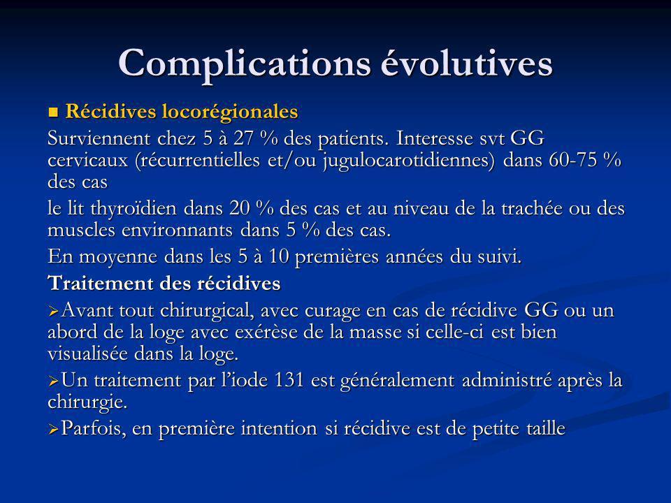 Complications évolutives Récidives locorégionales Récidives locorégionales Surviennent chez 5 à 27 % des patients. Interesse svt GG cervicaux (récurre