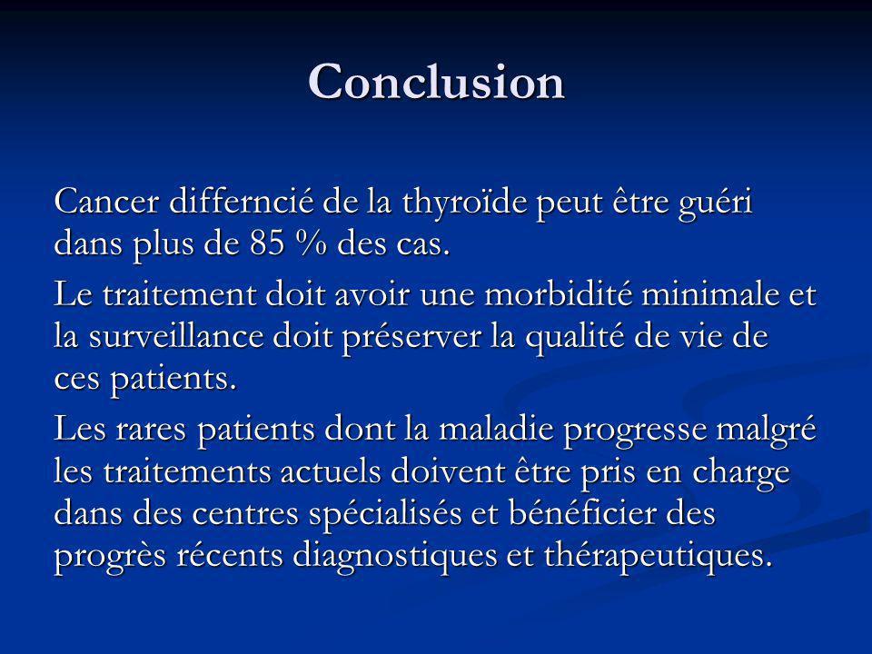 Conclusion Cancer differncié de la thyroïde peut être guéri dans plus de 85 % des cas. Le traitement doit avoir une morbidité minimale et la surveilla