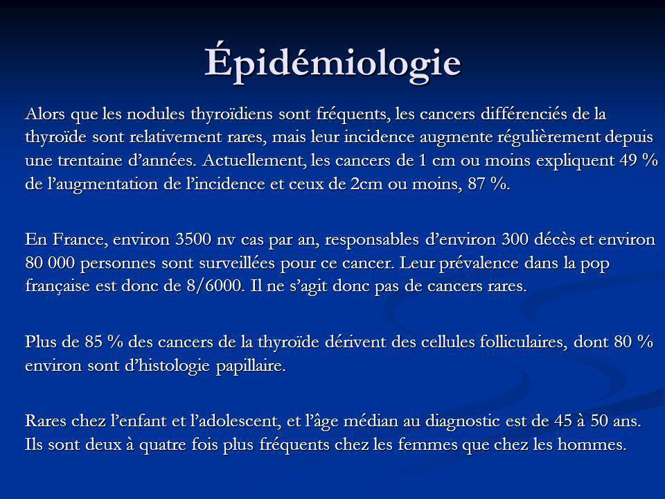 Épidémiologie Alors que les nodules thyroïdiens sont fréquents, les cancers différenciés de la thyroïde sont relativement rares, mais leur incidence a