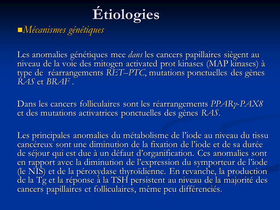 Étiologies Mécanismes génétiques Mécanismes génétiques Les anomalies génétiques mee dans les cancers papillaires siègent au niveau de la voie des mitogen activated prot kinases (MAP kinases) à type de réarrangements RET–PTC, mutations ponctuelles des gènes RAS et BRAF.