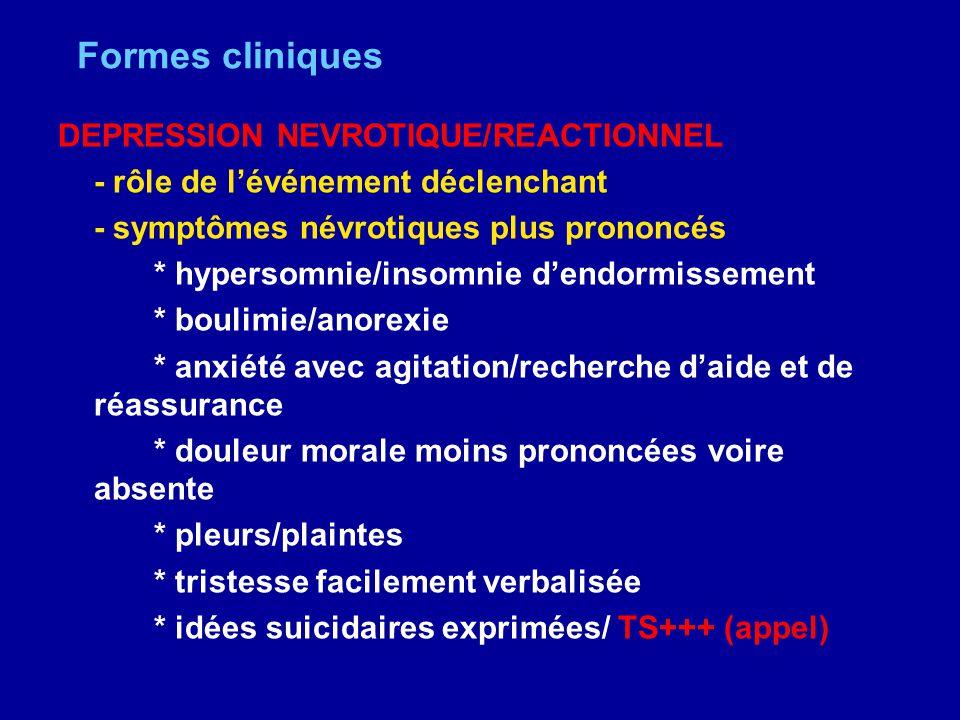 Formes cliniques DEPRESSION NEVROTIQUE/REACTIONNEL - rôle de lévénement déclenchant - symptômes névrotiques plus prononcés * hypersomnie/insomnie dend