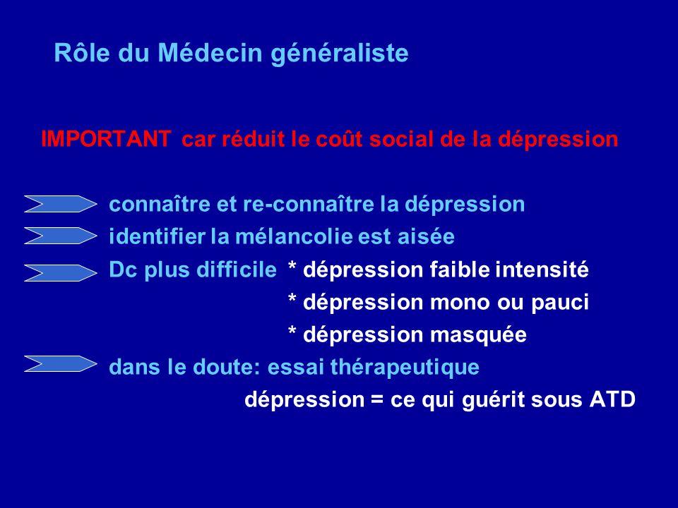 Rôle du Médecin généraliste IMPORTANT car réduit le coût social de la dépression connaître et re-connaître la dépression identifier la mélancolie est