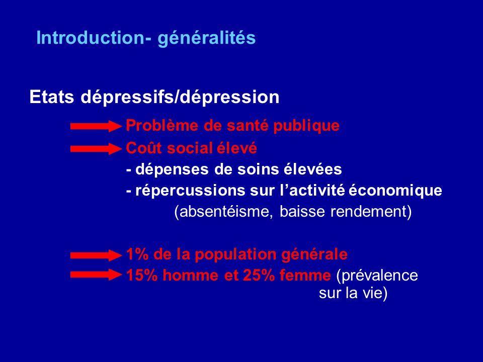 Introduction- généralités Etats dépressifs/dépression Problème de santé publique Coût social élevé - dépenses de soins élevées - répercussions sur lac