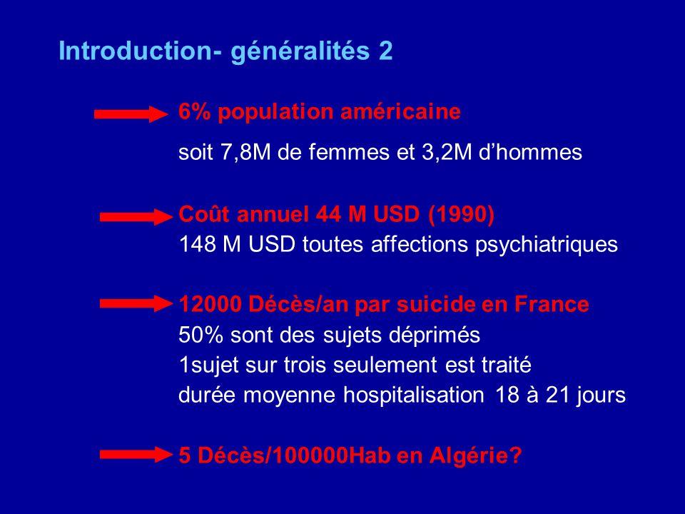 Introduction- généralités 2 6% population américaine soit 7,8M de femmes et 3,2M dhommes Coût annuel 44 M USD (1990) 148 M USD toutes affections psych