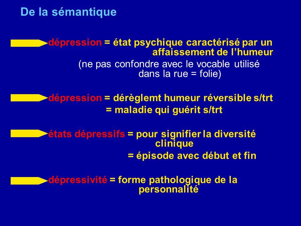 De la sémantique dépression = état psychique caractérisé par un affaissement de lhumeur (ne pas confondre avec le vocable utilisé dans la rue = folie)