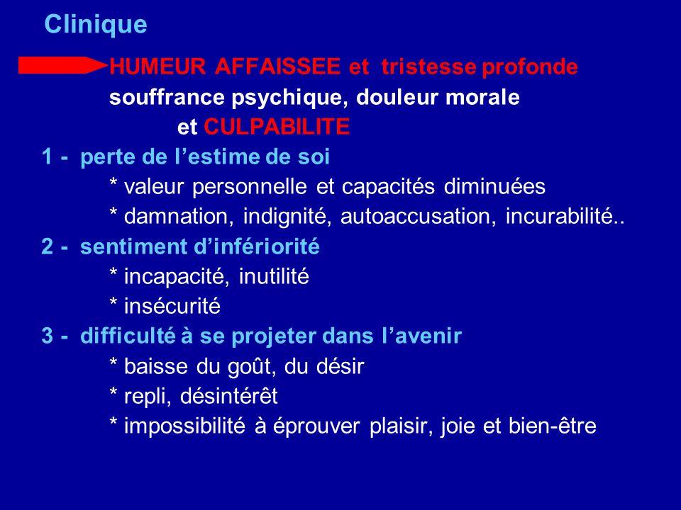 Clinique HUMEUR AFFAISSEE et tristesse profonde souffrance psychique, douleur morale et CULPABILITE 1 - perte de lestime de soi * valeur personnelle e