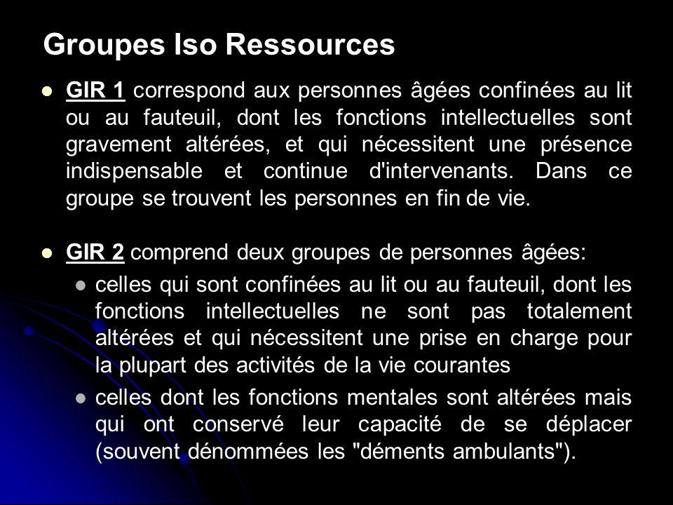 Groupes Iso Ressources GIR 1 correspond aux personnes âgées confinées au lit ou au fauteuil, dont les fonctions intellectuelles sont gravement altérée