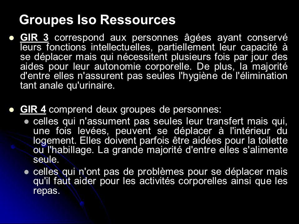 Groupes Iso Ressources GIR 3 correspond aux personnes âgées ayant conservé leurs fonctions intellectuelles, partiellement leur capacité à se déplacer