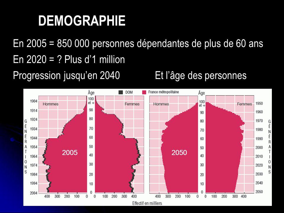 DEMOGRAPHIE En 2005 = 850 000 personnes dépendantes de plus de 60 ans En 2020 = ? Plus d1 million Progression jusquen 2040Et lâge des personnes 200520