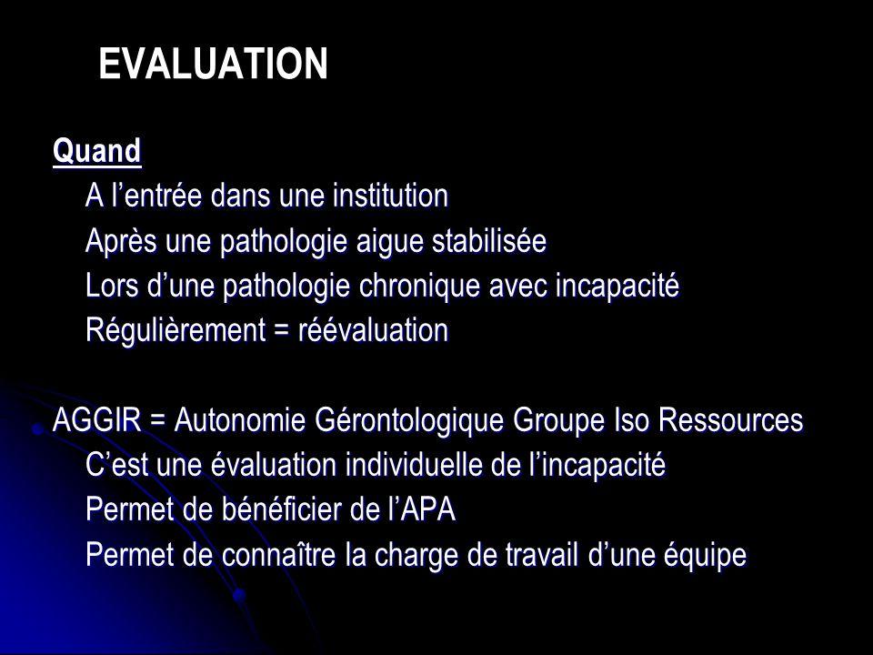 Quand A lentrée dans une institution Après une pathologie aigue stabilisée Lors dune pathologie chronique avec incapacité Régulièrement = réévaluation