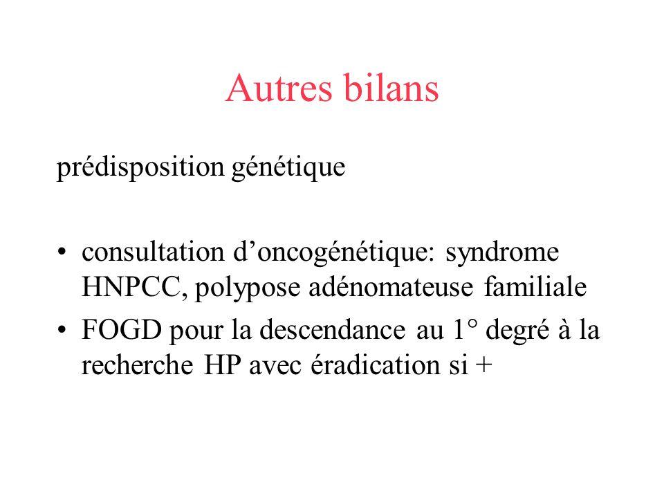Autres bilans prédisposition génétique consultation doncogénétique: syndrome HNPCC, polypose adénomateuse familiale FOGD pour la descendance au 1° deg
