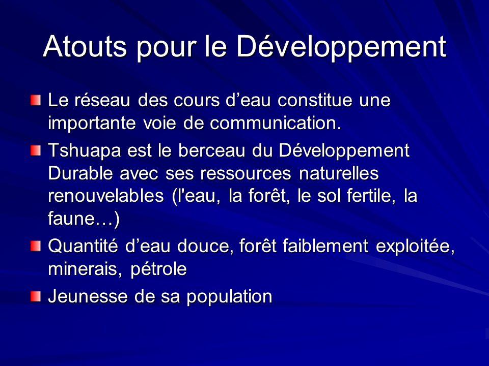 Atouts pour le Développement Le réseau des cours deau constitue une importante voie de communication. Tshuapa est le berceau du Développement Durable