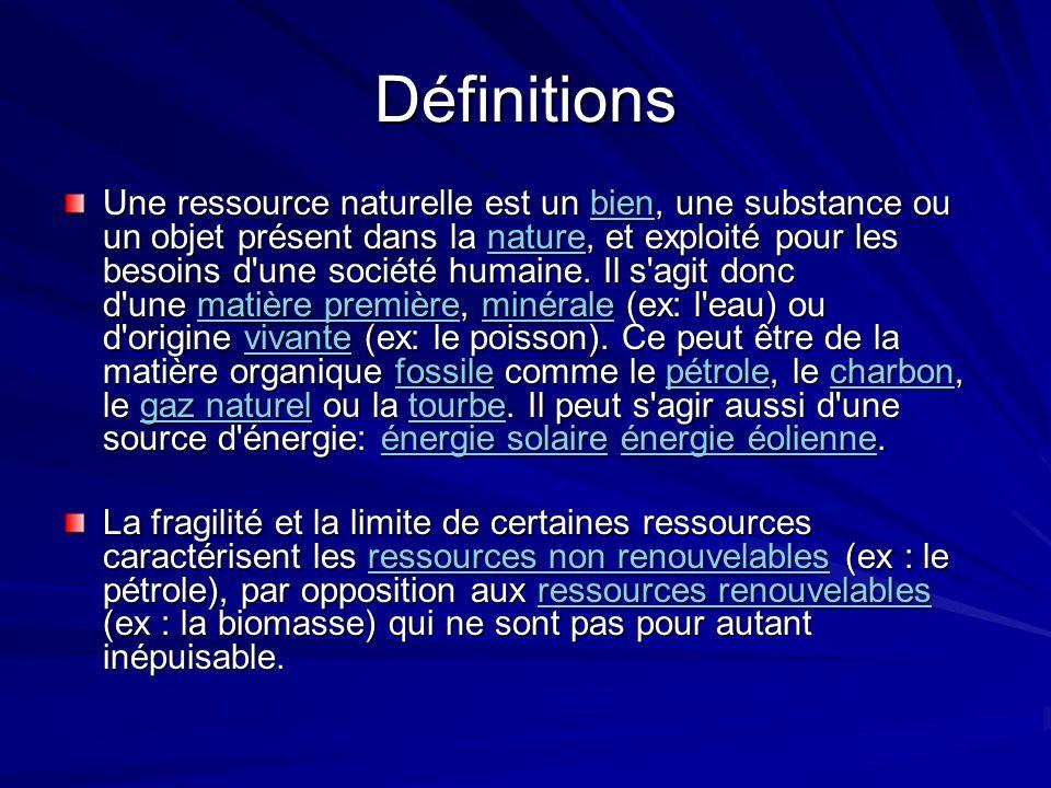 Définitions Une ressource naturelle est un bien, une substance ou un objet présent dans la nature, et exploité pour les besoins d'une société humaine.