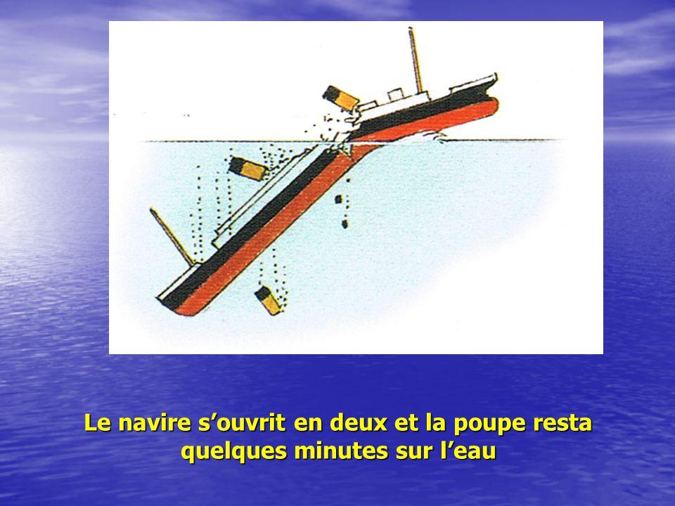 Le poids de leau dans la coque finit par attirer tout lavant du navire sous les eaux