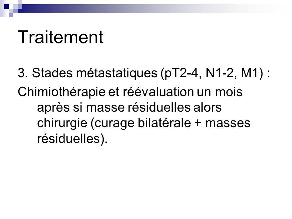 Traitement 3. Stades métastatiques (pT2-4, N1-2, M1) : Chimiothérapie et réévaluation un mois après si masse résiduelles alors chirurgie (curage bilat