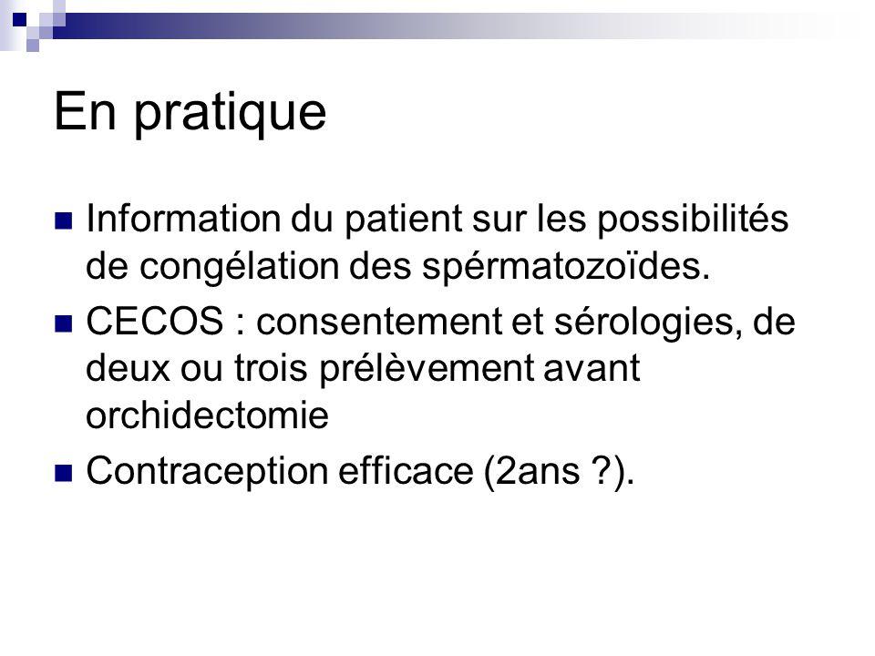 En pratique Information du patient sur les possibilités de congélation des spérmatozoïdes. CECOS : consentement et sérologies, de deux ou trois prélèv