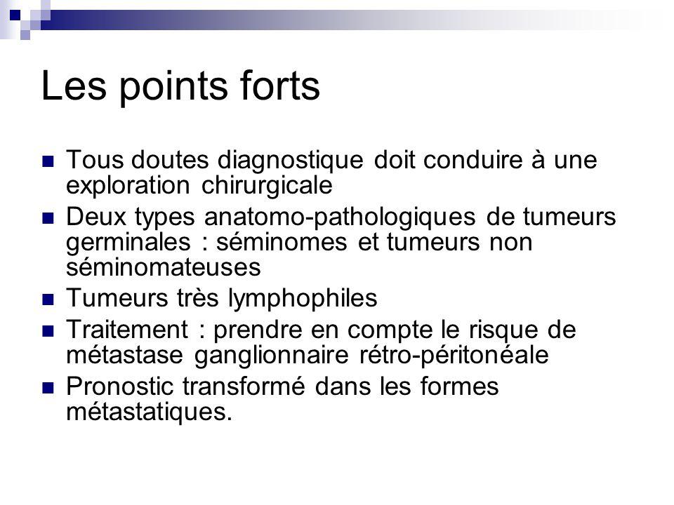 Les points forts Tous doutes diagnostique doit conduire à une exploration chirurgicale Deux types anatomo-pathologiques de tumeurs germinales : sémino